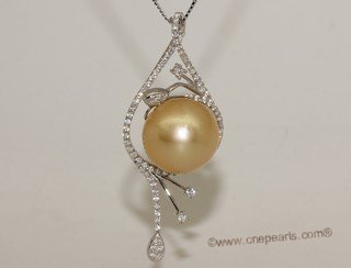 thpd148 Sterling Silver Nature Yellow South Sea Pearl Pendant Zircon Bead accent