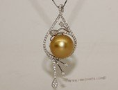 thpd149 Sterling Silver Gold South Sea Pearl Pendant Zircon Bead accent