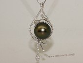 thpd150 Sterling Silver Black Tahitian Pearl Pendant Zircon Bead accent