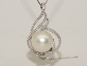 thpd151 Sterling Silver White South Sea Pearl Pendant Zircon Bead accent