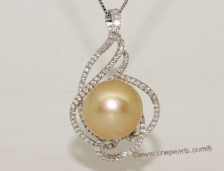 thpd152 Sterling Silver Nature Yellow South Sea Pearl Pendant Zircon Bead accent