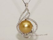 thpd153 Sterling Silver Gold South Sea Pearl Pendant Zircon Bead accent