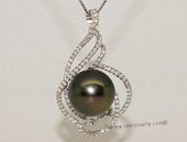 thpd154 Sterling Silver Black Tahitian Pearl Pendant Zircon Bead accent