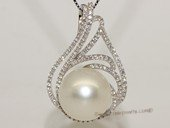 thpd155 Sterling Silver White South Sea Pearl Pendant Zircon Bead accent