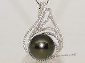 thpd157 Sterling Silver Black Tahitian Pearl Pendant Zircon Bead accent