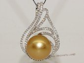 thpd158 Sterling Silver Gold South Sea Pearl Pendant Zircon Bead accent
