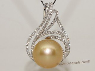 thpd159 Sterling Silver Nature Yellow South Sea Pearl Pendant Zircon Bead accent
