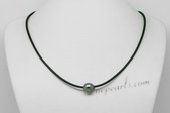 Thpn007 10-11mm AA+ Grade Baroque Tahitian Pearl Leather Necklace