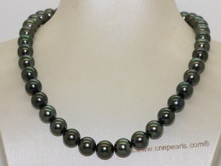 thpn014 17-inch  10.1-11.0mm  black Tahiti pearl necklace