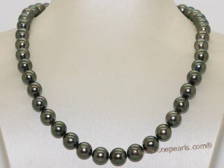 thpn015 17-inch  8.5-10.5mm black Tahiti pearl necklace