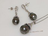 thpset004 Sterling Silver Zircon Paved Cultured Freshwater Pearl Pendant and Earrings Set