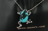 Tpd009 25*40mm frog design turquoise silver tone pendant necklace