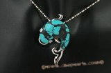 Tpd012 25*40mm dolphin shape turquoise pendant in silver plated