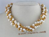 tpn005 Three twisted strands 6-7mm side drilled freshwater pearl necklace