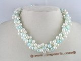 tpn010 Three twisted strands 6-7mm side drilled pearls necklace