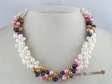 tpn013 three twisted strands 6-7mm white mixing multi-color side-drilled pearls necklace