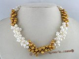 tpn015 three twisted strands 6-7mm white mixing coffee side-drilled pearls necklace