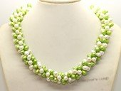 tpn017 three twisted strands 6-7mm white mixing green top-drilled pearls necklace