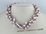 tpn022 three twisted strands 6-7mm white mixing purple top-drilled pearls necklace