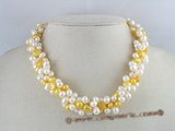 tpn024 twisted white side-dirlled pearl necklace with yellow nugget pearl
