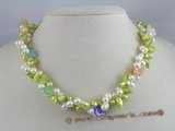 tpn029 Double twisted cultured pearl necklaces with green blister and white top dirlled pear