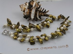 tpn037 Two strands 9*20mm coffee wing pearl twisted necklace