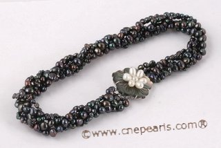 tpn040 Five twisted strands nugget black necklace