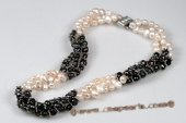 tpn045 Three twisted strands 7-8mm black&white nugget pearl necklace