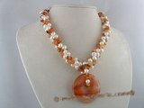 tpn047 three strands 7-8mm white potato cultred pearl twisted necklace with agate beads