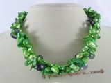 tpn055 three twisted strands 7*12mm bottle green blister pearl necklace with crystal