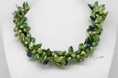 tpn056 three twisted strands 7*12mm green blister pearl necklace with crystal