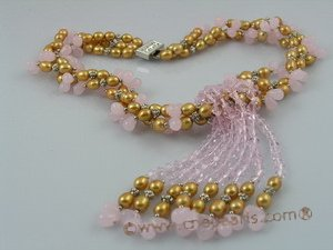 tpn057 Colleen&#39s Cultured champagne rice shape Pearl and Crystal Necklace
