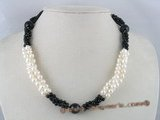 tpn059 three strands 6-7mm potato cultred pearl twisted necklace with black agate