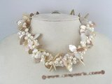 tpn062 twisted side-dirlled pearl and shell beads necklace wholesale