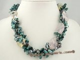tpn063 green blister pearl twisted necklace with amethyst beads