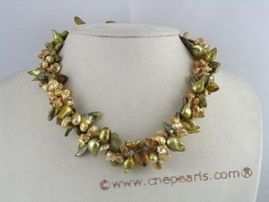 tpn066 keshi & blister freshwater pearl twisted necklace in wholesale