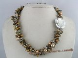 tpn072 wholesale coffee blister& shell pearl twisted necklace
