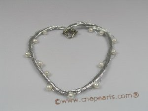 tpn095 silver thread twisted necklace with cultured pearl