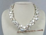 tpn096 four strands twisted 12mm white coin pearl necklace