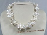 tpn097 double strands twisted 7*18mm white biwa pearl necklace