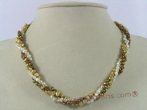 tpn104 Three strands 4-5mm double shiny seed pearl twisted necklace
