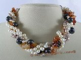 tpn111 Five twisted strands multicolor pearl&agate neckalce jewelry wholesale
