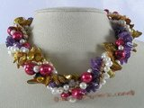 tpn113 Five strands twisted colorful freshwater pearl&amethyst necklace wholesale