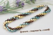 Tpn119 New style colorful 8-9mm nugget pearl twisted necklace in discount price