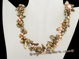 tpn137 Triple strands twisted colorful freshwater pearl  necklace in wholesale