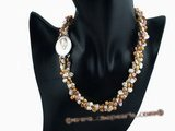 tpn138 Elegant colorful Freshwater keshi Pearl twisted Necklace