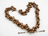 tpn139 Two twisted strand 7-8mm freshwater pearl necklace in chocolate color