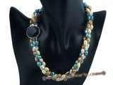 tpn140 Fashion Dyed color Freshwater nugget Pearl twisted Necklace