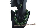 tpn142 Triple twisted blister pearl& teardrop crystal necklace in green