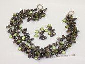 tpn143 Fashion Black blister pearl& Green crystal twisted necklace in Triple strands